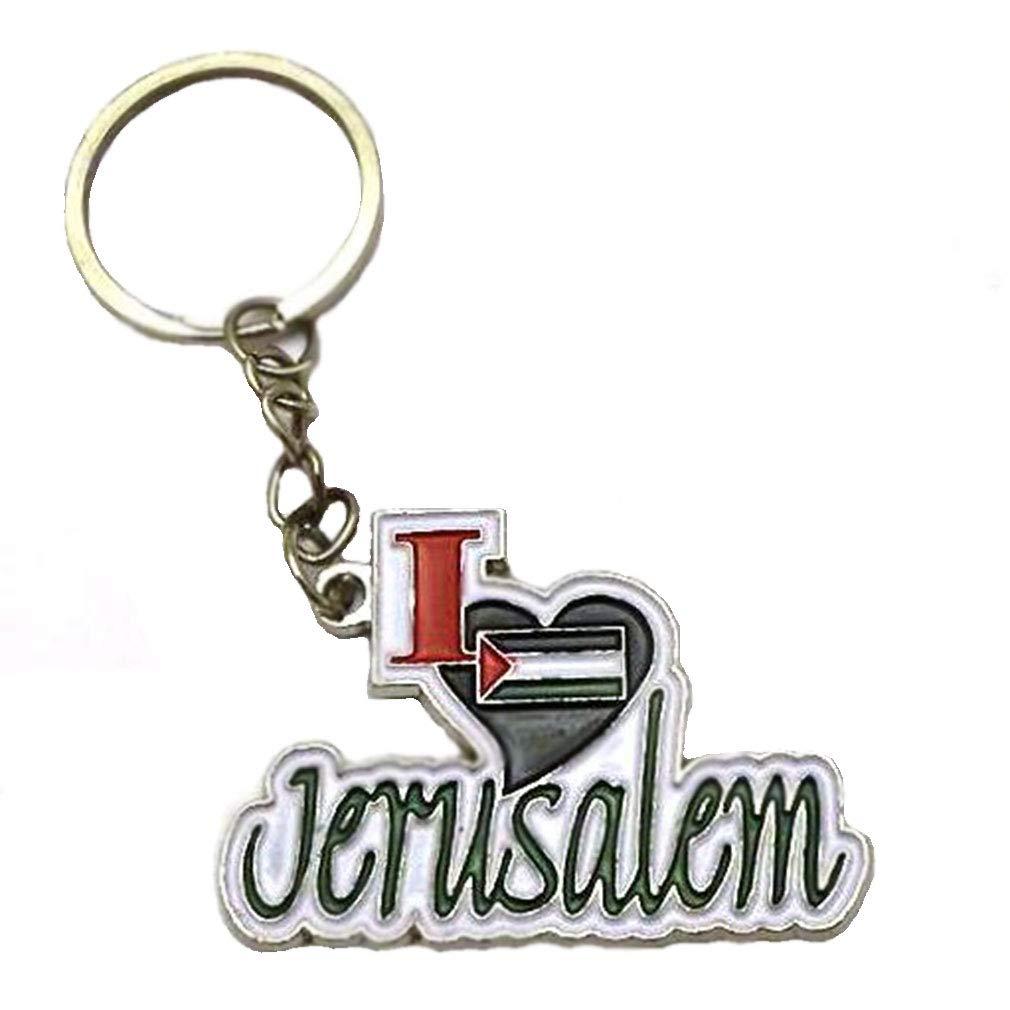 Amazon.com: I Love Palestina Jerusalén bandera llavero ...
