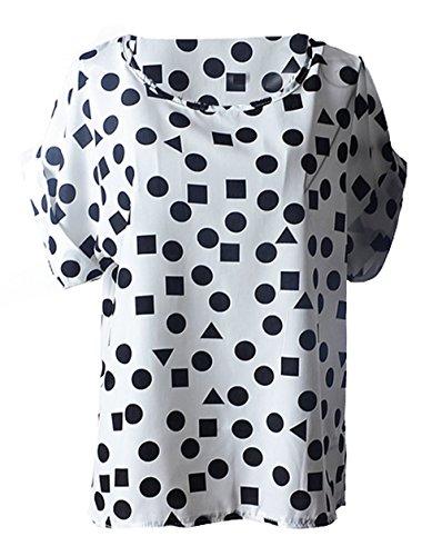 Monika Donna Estivo Maglietta Casual Rotondo Collo Manica Corta T-Shirt Camicie Moda Stampa Chiffon Tops Bluse Bianco 3