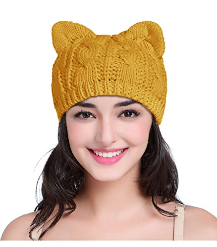 - v28 Women Men Girls Boys Teens Cute Cat Ear Knit Cable Rib Hat Cap Beanie (Medium, Cat Ear Mustard)