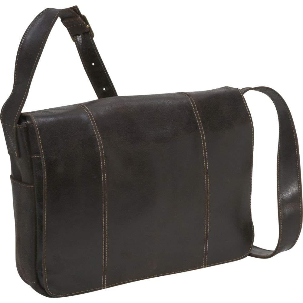 Le Donne Leather DS-1009-Choc Distressed Messenger