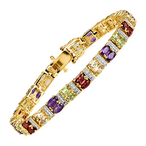 7 3 4 ct Natural Multi-Stone Two-Row Link Bracelet with Diamond in Sterling Silver-Plated Brass with Gold Flash