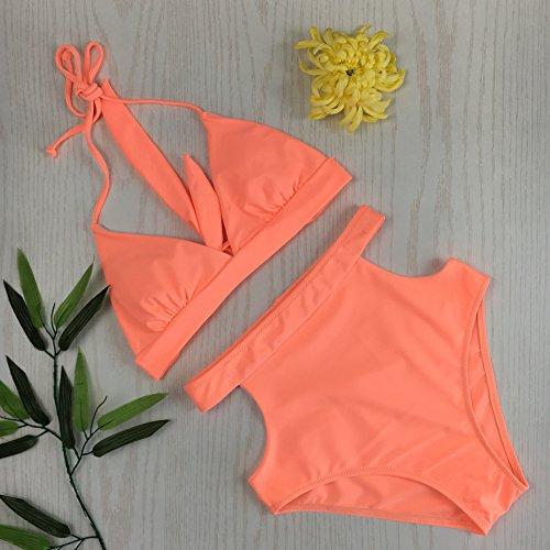 di legando TIANLU Fashion split Pure sexy bagno costume Knocked da fissaggio Beachwear da donna orange bikini split color Swimsuit pink vite M dimagrante set anHqa6r
