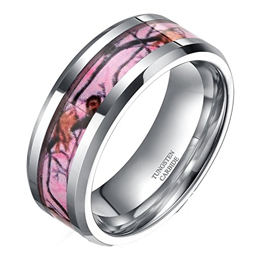 8mm Pink Camo Tungsten Rings for Men Deer Antlers Hunting Camouflage Wedding Engagement Band