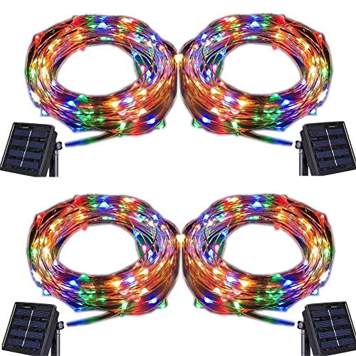 Solar String Lights,100 LED Copper Wire Fairy Blinking Twinkle Waterproof Tree Outdoor Yard Patio Home Garden and for Holiday Party Wedding Decorative Light Colorful 4PACK ()