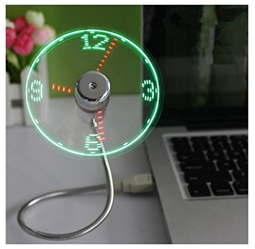 RukiwaMini USB Powered LED Cooling Flashing Real Time Display Function Clock Fan