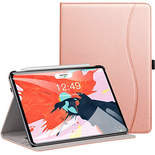 Ztotop Case for iPad Pro 11 Inch 2018 Release, Premium Leather Slim Multiple Viewing Angles Folding Stand Folio Cover with Auto Wake/Sleep (Support 2nd Gen ipad Pencil Wireless Charging), Rose Gold