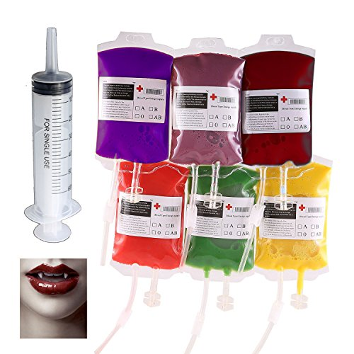 Halloween Party Cups by COOWIND,Blood Bag for Drinks 300Ml x 8 Bags with Syringe Extra Fast Filling Halloween Zombie Party Favors - Vampire Slayer Sexy Costumes