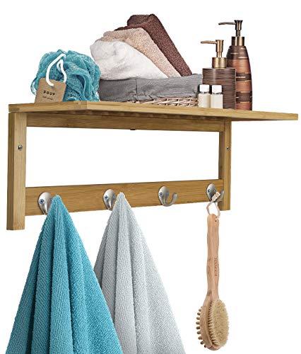 Sorbus Wall-Mounted Coat Hook Bamboo Wooden Coat Rack, 4 Hook Wall Mounted Towel Rack with Upper Storage Shelf, Great for Bathroom, Hallway, Mudroom, Bedroom, Wooden Scandinavian Style