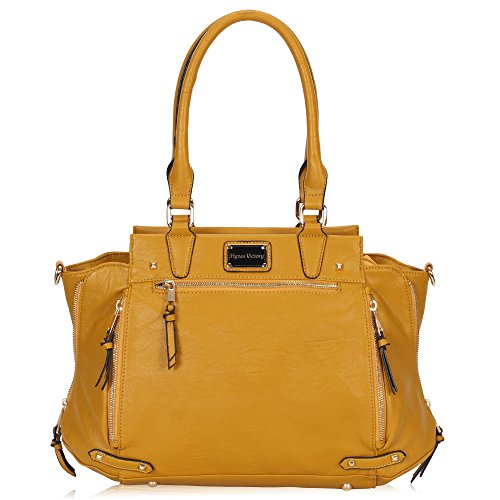 [Hynes Victory Luxe Purse Vintage Shoulder Bags for Women Handbags for Work Yellow] (Yellow Purses)