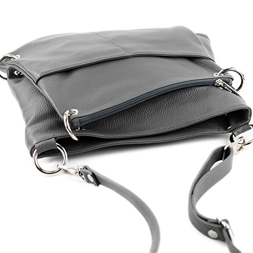 bag Modamoda NT07 Messengerasche Gray leather Nappa Leather ital de Damentasche bag Dark 2in1 Shoulder ZxrZ0XqP
