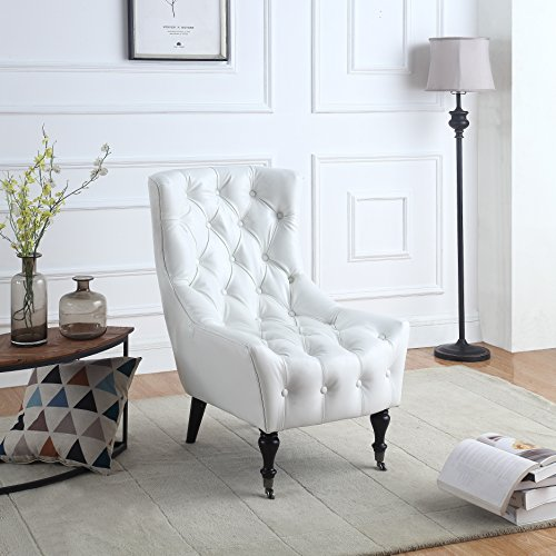 Classic Tufted Faux Leather Shelter Wing Living Room Chair,