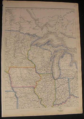 us-mid-west-iowa-michigan-minn-c1863-large-scarce-old-vintage-ettling-map