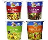 Dr. McDougall's Vegan Soup Cups 4 Flavor Variety Bundle, 1 Ea: Minestrone, Black Bean & Lime, Split Pea, and Tortilla with Baked Chips, 2-3.4 Ounces
