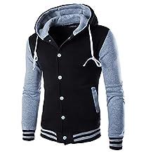 Kmety Men's Hoodie Cotton Baseball Varsity Jacket