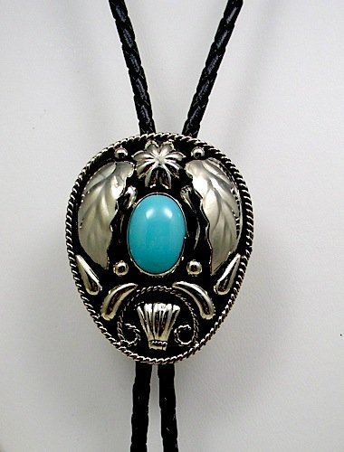 German Silver & Turquoise Bolo Tie