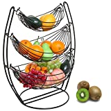 3 Tier Black Triple Hammock Fruit / Vegetables / Produce Metal Basket Rack Display Stand - MyGift