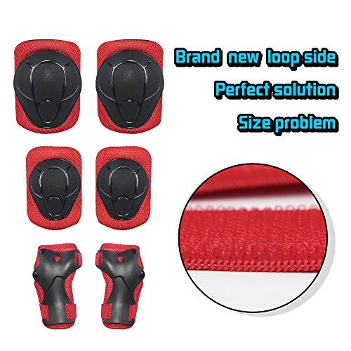 LANOVAGEAR Kids Adjustable Protective Gear Set Knee Elbow Pads Wrist Guards for Skateboard Bicycle Sports Safety (Red, Small) by LANOVAGEAR (Image #5)
