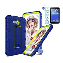 """Samsung Galaxy Tab E Lite 7.0 Case, Galaxy Tab 3 Lite 7.0 Kids Case With Screen Protector, L00KLY [3 in 1] Heavy Duty High Impact Resistant Hybrid Shockproof Protective Case with Kickstand Cover For Samsung Galaxy Tab 3 Lite 7.0""""/Tab E Lite 7.0"""" (SM-T110/T111) (Green+Navy Blue)"""