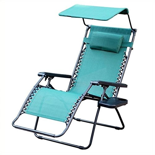 Jeco Inc. Oversized Zero Gravity Chair with Sunshade and Drink Tray - Green by Jeco Inc.