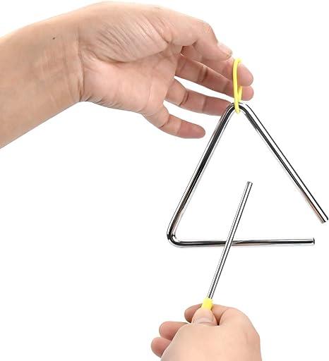 Triangolo musical per bambini, 5 pollici strumento a percussione in acciaio a percussione con mazzuole scolari e principianti che suonano, sussidi ...