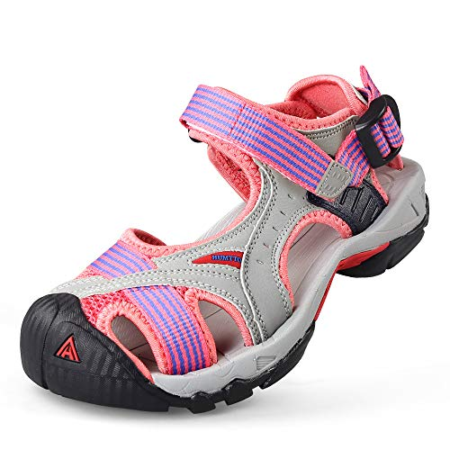Womens Hiking Outdoor Sandals Summer Athtletic Walking Water Shoes with Closed Toe Pink (Best Water Hiking Sandals)