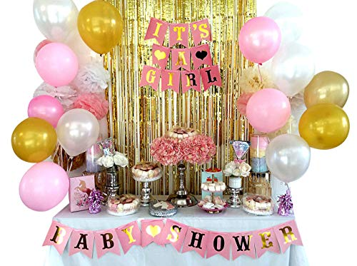 (Baby Shower Decorations 46pc Baby Girl Set, Elegant and Enchanting Colors Including Free mom to be sash, It is a Girl & Baby Shower Banner, Balloons, Pompoms, Gold Fringe Curtain.)