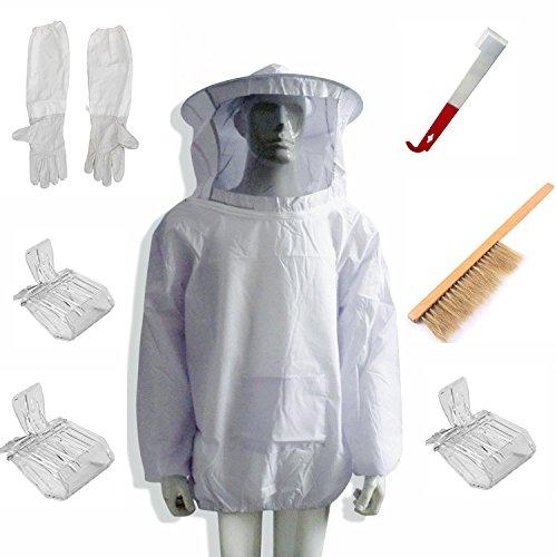 LamYHeng New Beekeeping Beekeeper Suit Bee Jacket&Gloves& Bee Hive Brush & J Hook Hive Tool Set &Queen Bee Catcher -