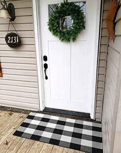 Ukeler Buffalo Plaid Rug 100 Cotton Porch Rugs Black and White Checkered Plaid Door Mat Hand-Woven Washable Rag Rug Floor Mat Outdoor Decor, 23.5 35.4
