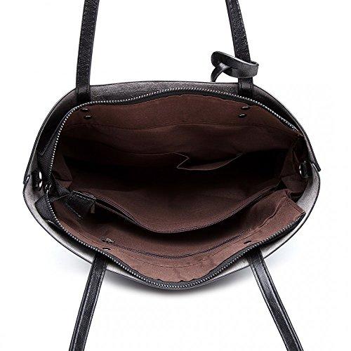 Quality Wax Oil Leather Handled PU Handbag Women Top Black Two Soft dxXHwdBq