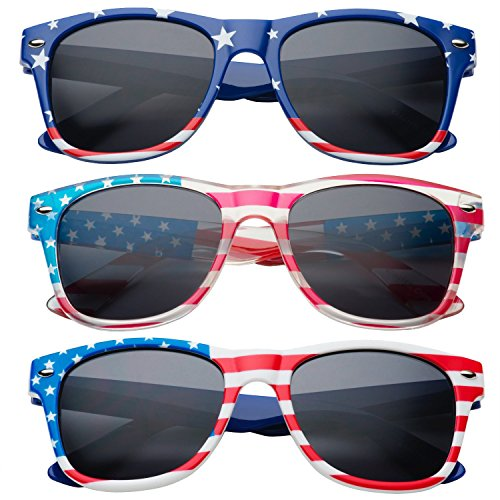 grinderPUNCH Kids American USA Flag Sunglasses for Boys and Girls Ages - Band Ray Wayfarer