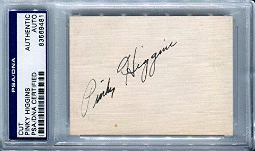 (Mike Frank PINKY HIGGINS (d.1969) Signed Original Rare PSA/DNA Slabbed Cut Signature Detoit Tigers Philadelphia A's Auto)