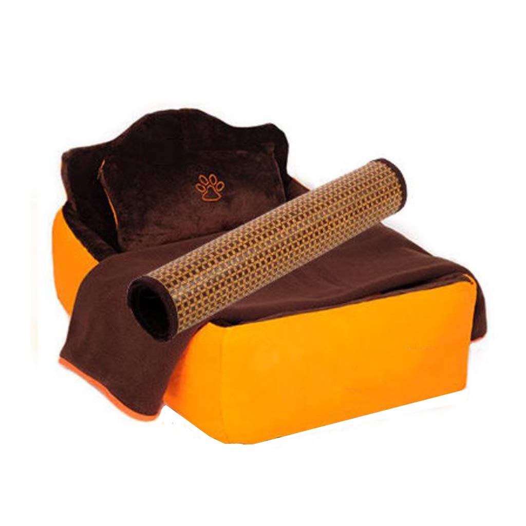KLXZD 完全に取り外し可能と洗えるペットベッド暖かい犬小屋のマットのキルト枕 (色 : Three-piece, サイズ さいず : S s) B07QVJ8Z1Y Four-piece S s S s Four-piece