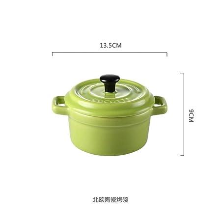 Cuenco de cerámica para hornear con tapa, horno binaural, horno ...