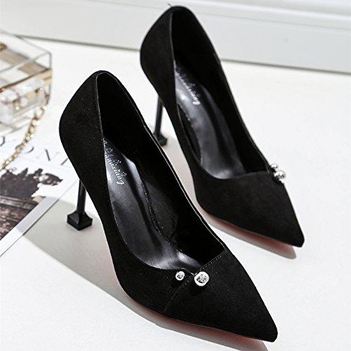 negro zapatos tacón de cm los negra 9 bien de Zapatos Punta zapatos de 34 satin de con solo alto la luz wild mujer zapatos ocupacional tE1IqSWxwd