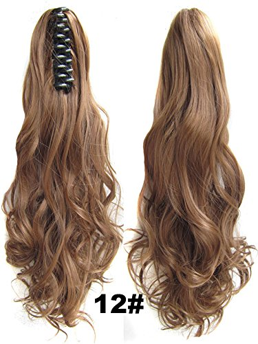 [Beauty Wig World Mother's Day 20inch 50cm 100g Long Wave Curly Woman Claw Clip Ponytail Clip on/in Hair Extensions - #12 Light Golden] (Perm Wigs)