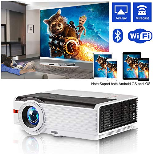 HD LCD Wireless Smart Home Projector with WiFi Bluetooth 5000 Lumen High Brightness 2019 New Digital Zoom Android Video Projector for Gaming TV Movies, HDMI USB VGA AV Aux Audio for Outdoor/Indoor