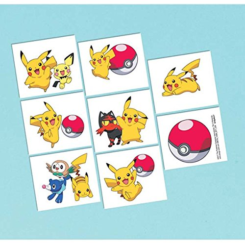 amscan Pokemon Tattoos, Party Favor One Size, Yellow
