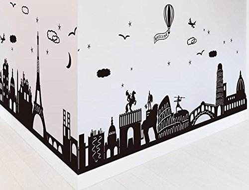 BIBITIME World Famous Scenery Silhouette Vinyl Decal Triumphal Arch The Leaning Tower of Pisa Colosseum Spartan Architecture Art Sticker for Living Room Balloon Welcome Quotes