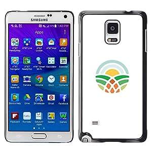 YOYOYO Smartphone Protección Defender Duro Negro Funda Imagen Diseño Carcasa Tapa Case Skin Cover Para Samsung Galaxy Note 4 SM-N910F SM-N910K SM-N910C SM-N910W8 SM-N910U SM-N910 - nubes, sol, plantas, tierra, árbol