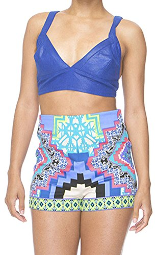 YeeATZ Women's Sexy Blue Stylish Print Party High Waist Shorts (Sexy Maid Lingere)