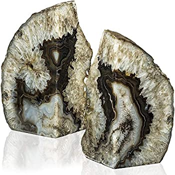 Luma Geode Bookends 1 Pair 4-6 lbs (Black) - Stone Bookends for Light and Heavy Books - Unique Brazilian Crystal Book Ends in Agate Stone to Hold Books, Geode Decor and Paperweight - 3 Colors
