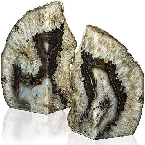 Stone Bookends - Geode Bookends Pair 6-9 lbs (Black)| Stone Bookends for Light and Heavy Books | Unique Brazilian Crystal bookends in Agate Stone to Hold Books, geode Decor and Paperweight | 3 Colors Available
