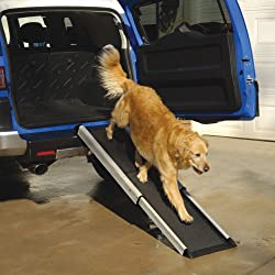 """Smart Telescoping Extends From 42""""-70"""" Pet Dog Doggie Cat Ramp Stairs for Small Large Cars, Trucks , Shur-foot Thread Surface, Holds 250lbs"""