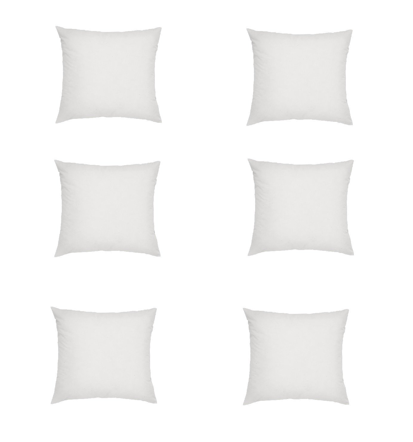 Web Linens Inc - Six Square Polyester Pillow Inserts with Six Zippered Covers - 24 x 24 inch
