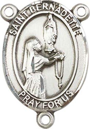 Sterling Silver Saint Bernadette Rosary Centerpiece Medal, 3/4 Inch