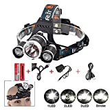 Sotijobs 6000LM CREE Xm-l XM L3 x T6 Led Tourch Rechargeable HeadLamp HeadLight 4 Modes Outdoor Flashlight (with USB)