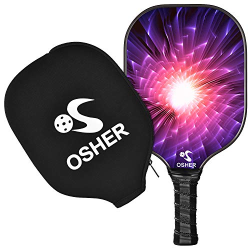 OSHER Pickleball Paddle Graphite Pickleball Racket Honeycomb Composite Core Pickleball Paddle Set Ultra Cushion Grip Low Profile Edge Bundle Graphite Pickleball Paddles Racquet(Pink)