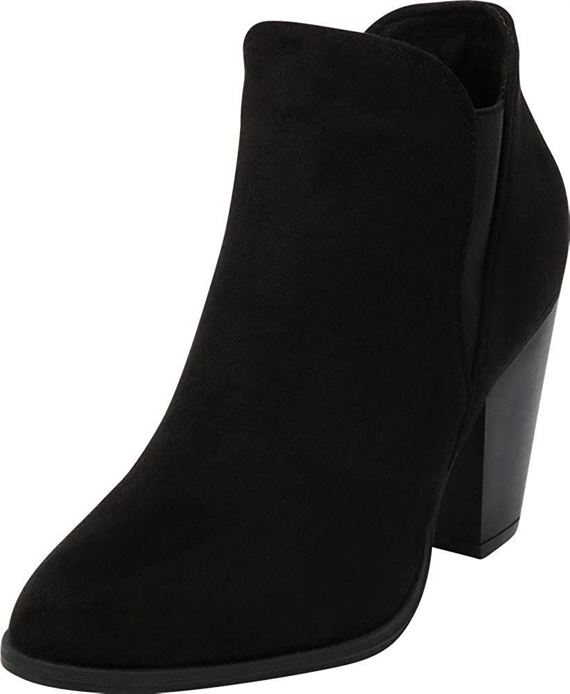 Black Imsu Cambridge Select Women's Western Stretch Stacked Chunky Heel Ankle Bootie