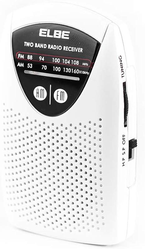 Elbe RF-50 Miniradio de bolsillom sintonizador analógico am/fm, auriculares incluidos, supel slim, altavoz incorporado, funciona con pilas, color blanco: Amazon.es: Electrónica