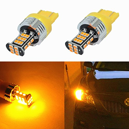 Alla Lighting Super Bright 7440 7443 LED Turn Signal Light Bulbs 2000 Lumens 7440 7442 7444 7443 LED Bulb 3020 30-SMD 7440 7443 LED Lights Bulbs Amber Yellow Blinker Lights Replacement for Cars Trucks ()